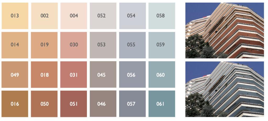 Conseils d'application de la palette couleur de la Principaute de Monaco - <span class='a3dc'>a<span>3</span>dc </span> - Atelier 3D couleur 12.47.10